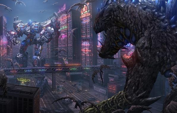 Picture fantasy, fiction, robot, home, battle, monsters, battle, cyborg, aliens, megapolis, cyberpunk, giants