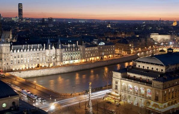 Picture night, lights, river, France, Paris, Hay, Conciergerie, Paris, the théâtre du châtelet