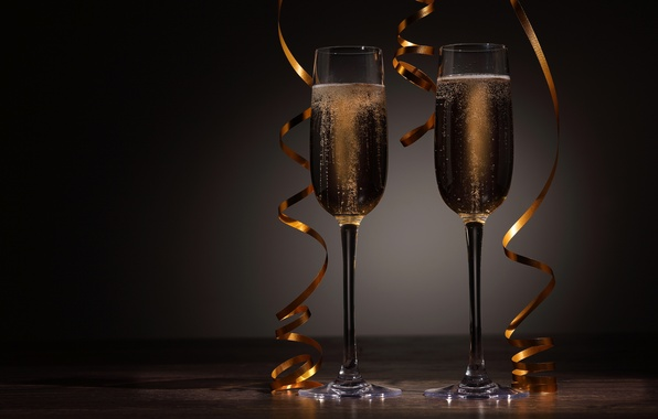 Picture holiday, New Year, glasses, Christmas, champagne, Christmas, serpentine, New Year