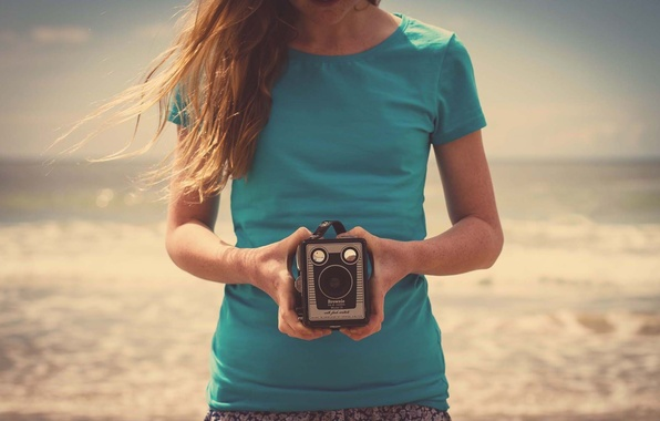 Picture sand, beach, girl, nature, mood, camera, hands, the camera, HD wallpapers, background. Wallpaper for desktop, …