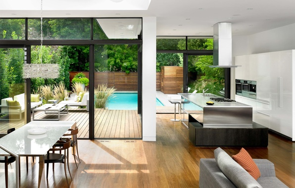 Picture house, style, table, sofa, furniture, technique, pool, chairs, kitchen, house, pool, modern, interior, modern, trees.