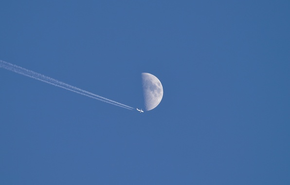 Picture the sky, the moon, the plane