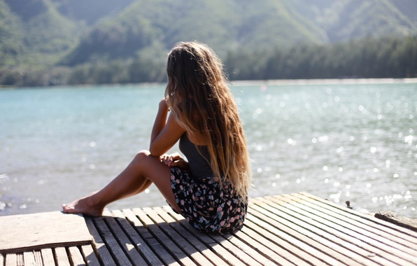 Picture summer, girl, lake, hair, sitting