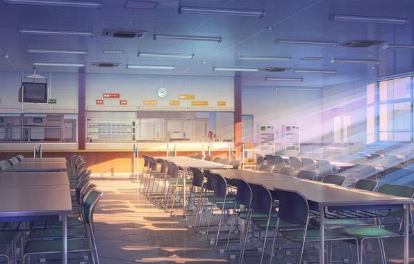 Picture light, Japan, window, art, tables, school, a coffee shop