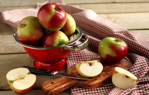 Picture apples, knife, dishes, Board, fruit, sliced