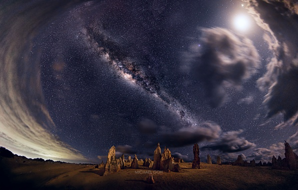 Picture the sky, stars, night, rocks, Australia, panorama, the milky way, Western, national Park Nambung