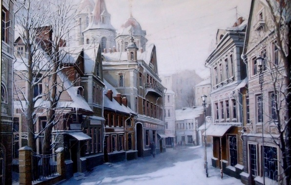 Picture winter, road, snow, trees, the city, home, Picture, lantern, Painting, Alexander Starodubov