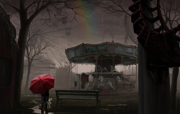 Picture white, girl, rain, toy, rainbow, umbrella, rabbit, art, attraction, carousel, smaka