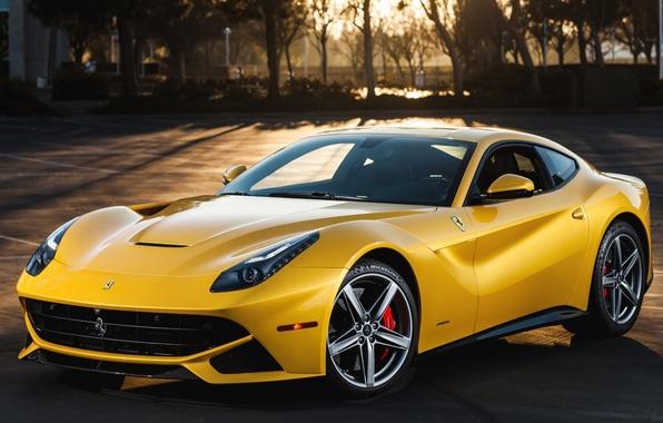 Picture trees, sunset, yellow, background, Ferrari, Ferrari, supercar, the front, berlinetta, berlineta, F12, F12