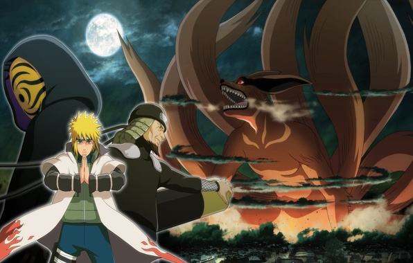 Picture moon, game, anime, man, ninja, asian, mask, Uchiha, manga, shinobi, japanese, Namikaze Minato, Sarutobi Sends …