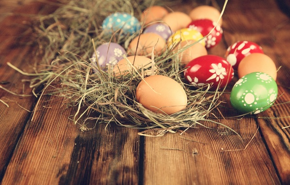 Picture eggs, Easter, hay, eggs