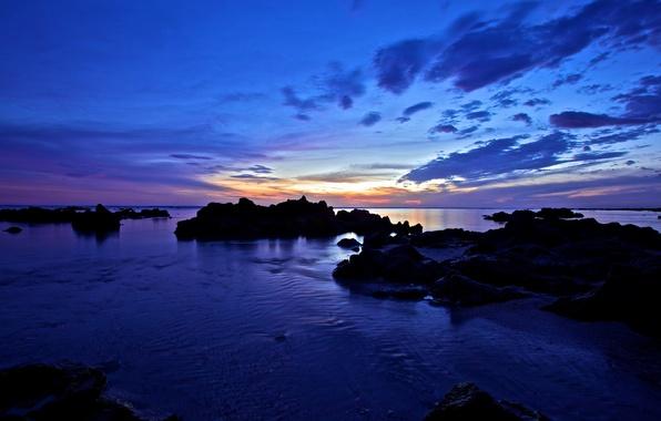 Picture sunset, lake, stones, twilight