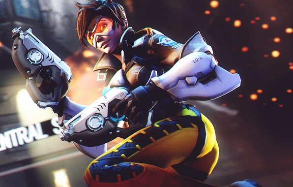 Picture ass, girl, smile, guns, glasses, costume, Overwatch, Tracer, Lena Oxton