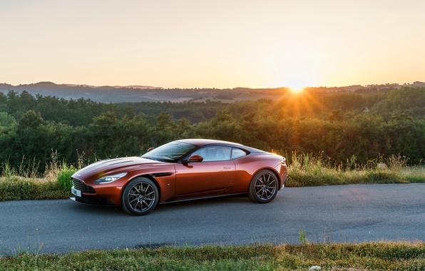 Picture road, machine, the sun, Aston Martin, Aston Martin, supercar, handsome, DB11