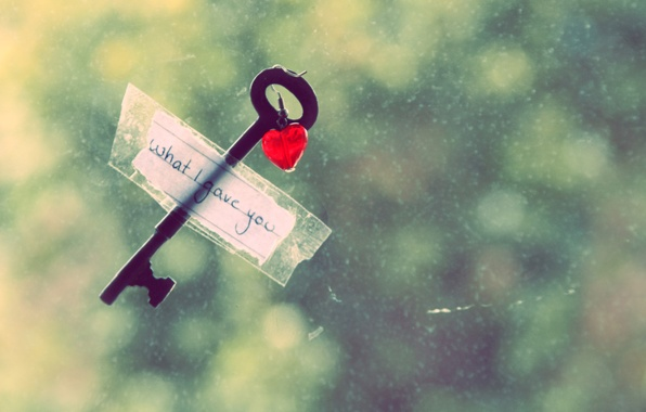 Picture love, the inscription, heart, key, window, note, love, recognition, heart