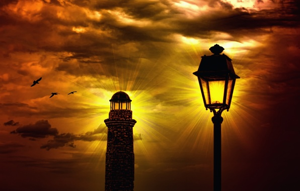 Picture the sky, the sun, rays, light, sunset, clouds, lighthouse, lantern