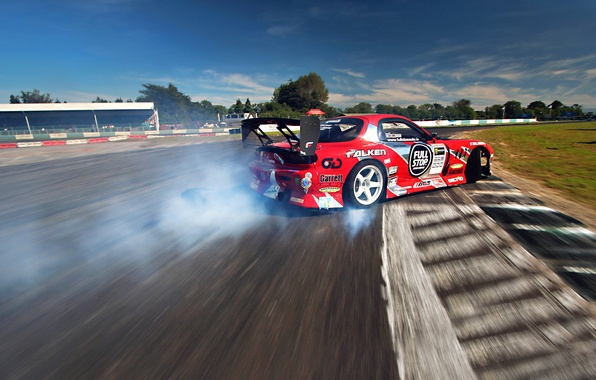 Picture Mazda, Red, Drift, Sky, Smoke, RX-7, Tuning, Sportcar, competition
