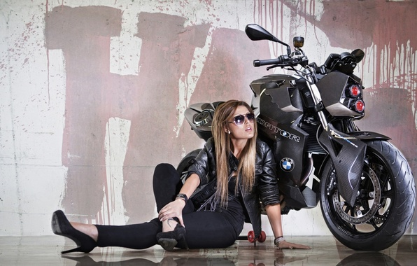 Picture girl, reflection, background, tuning, headlight, BMW, BMW, motorcycle, bike, beauty, Predator, tuning, F800 R, Custom ...