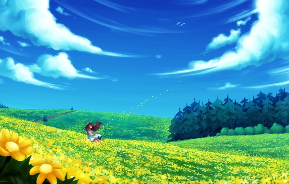 Picture field, forest, summer, girl, clouds, flowers, the wind, art, fir. road