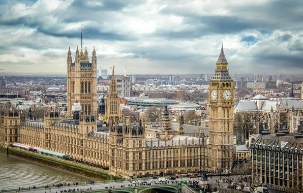 Picture bridge, people, tower, London, panorama, Parliament, big Ben