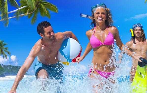 Picture wet, sea, fun, friends, bikini