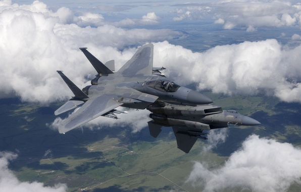 """Picture flight, fighters, pair, Eagle, F-15, """"Eagle"""""""