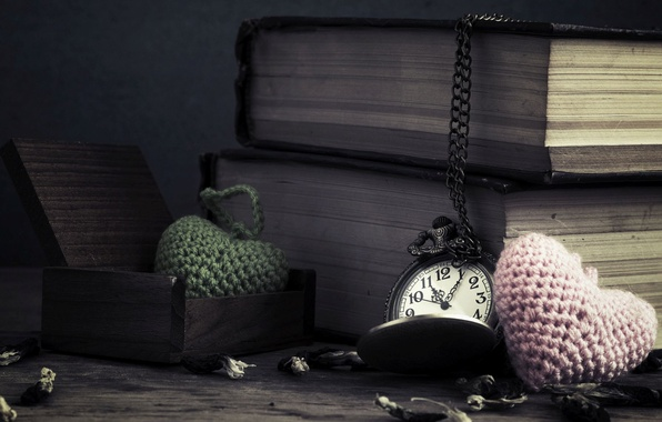 Picture flowers, time, background, widescreen, Wallpaper, heart, watch, books, chain, hearts, wallpaper, dial, chain, books, different, …