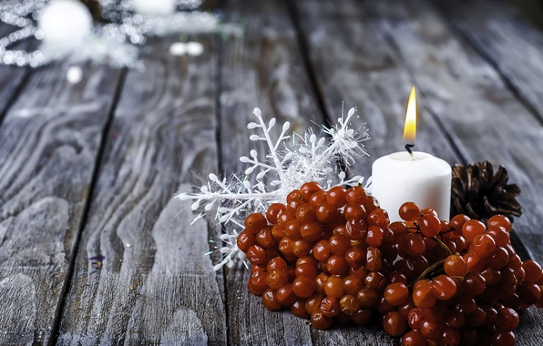 Picture candle, New Year, Christmas, Christmas, snowflake, Rowan, New Year, Xmas, Merry, Yuliya Mazurkevich