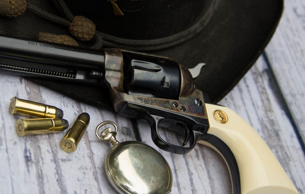 Picture weapons, watch, hat, cartridges, revolver, Colt, Action Army
