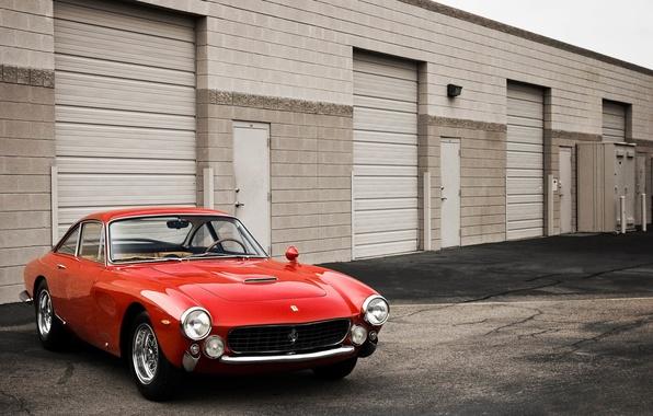 Picture Red, Retro, The hood, Garages, Ferrari, 250, Windshield