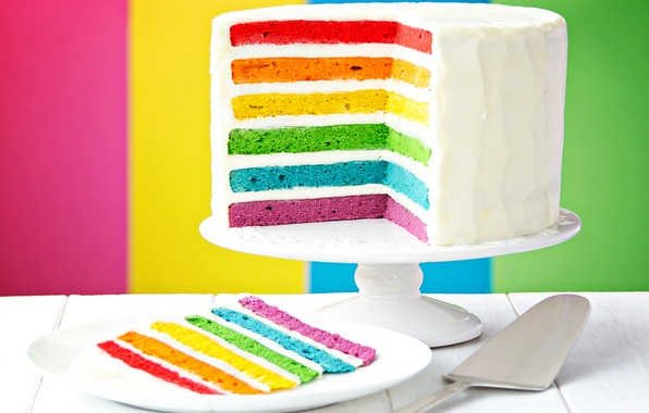 Photo wallpaper rainbow, colorful, cake, rainbow, cake, Happy, Birthday, Birthday