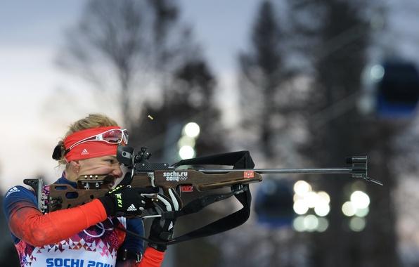 Picture look, shot, Russia, rifle, Russia, biathlon, women's, Sochi 2014, The XXII Winter Olympic Games, Sochi …