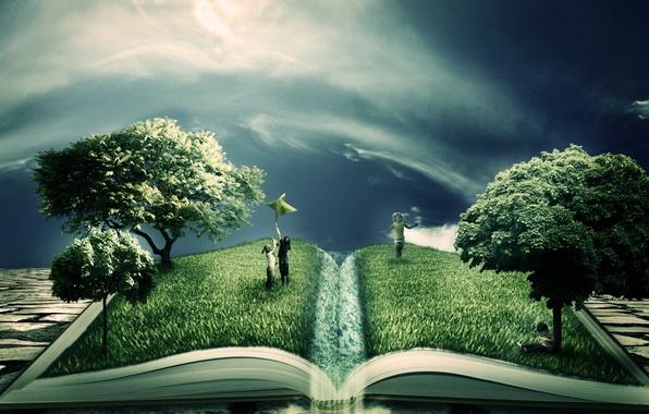 Picture greens, trees, children, creative, book