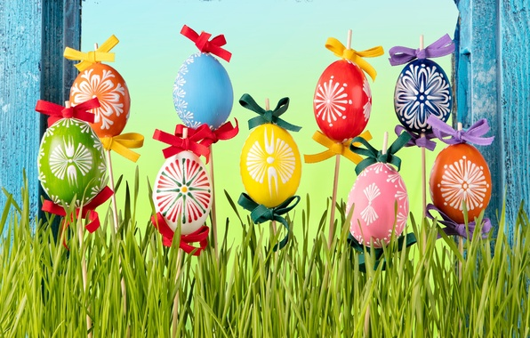 Picture grass, eggs, spring, Easter, flowers, spring, Easter, eggs, decoration, Happy
