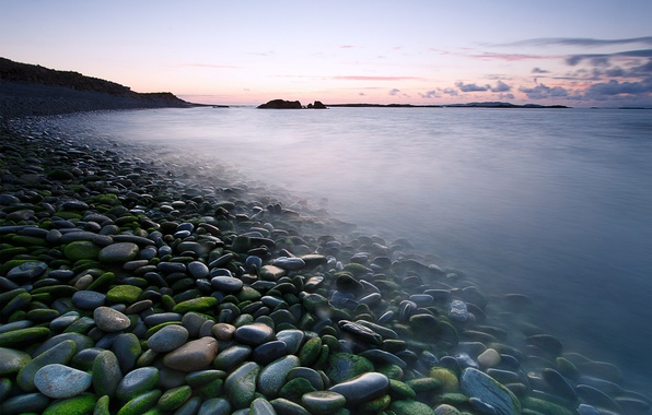 Picture sea, landscape, stones, morning