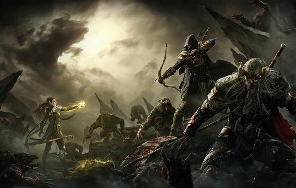 Picture clouds, weapons, rocks, magic, blood, bow, monsters, battle, halberd, The Elder Scrolls Online