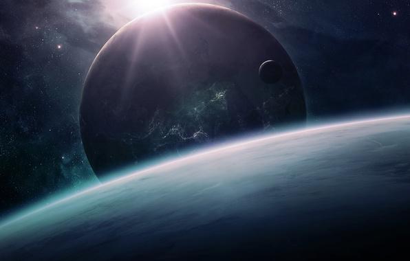 Picture space, planet, horizon, qauz