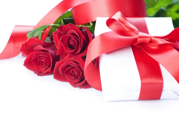 Picture love, flowers, holiday, box, gift, feelings, roses, silk, tape, red, bow, Valentine's day, Atlas, packaging, …
