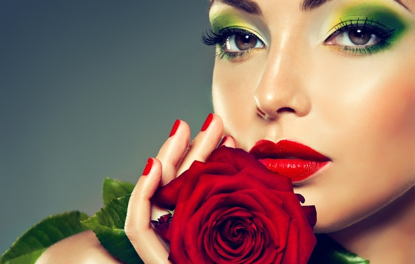 Picture eyes, girl, flowers, roses, lips, red, girl, rose, flower, woman, beautiful, lips, face
