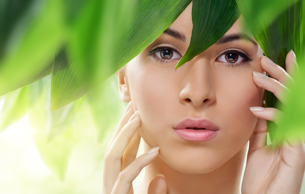 Picture look, girl, face, green leaves, hands, lips, brown eyes