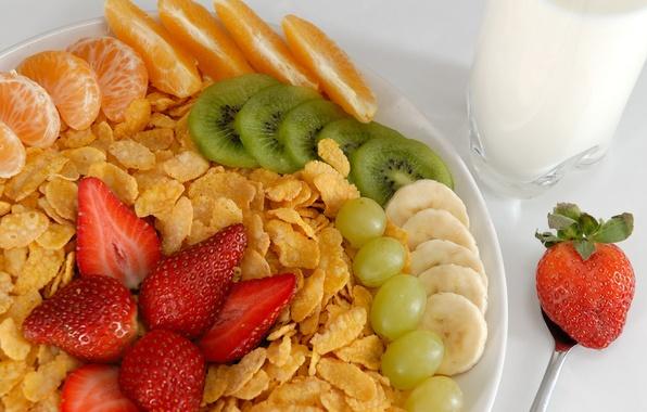 Picture glass, orange, food, kiwi, milk, strawberry, grapes, plug, banana, dessert, food, cup, grape, sweet, orange, ...