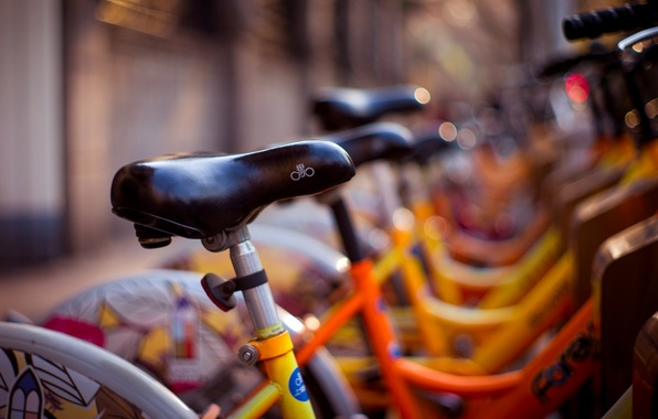 Picture yellow, bike, background, widescreen, Wallpaper, street, blur, wallpaper, bicycle, different, widescreen, background, bikes, bokeh, full …