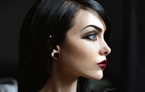 Picture girl, piercing, brunette, art, profile, earring