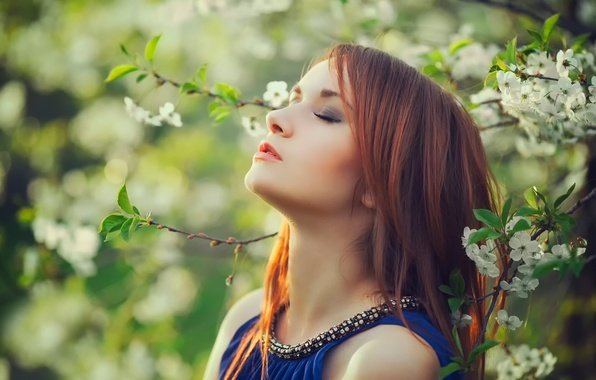 Picture girl, the sun, spring, flowering, Thank