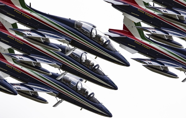 """Picture group, Airshow, pilots, Flight, The Italian air force, cabin, Aermacchi MB-339, """"Frecce tricolor"""""""