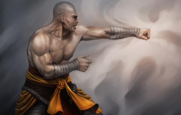 Picture art, blow, monk, male, fighter, Lucas Torquato de Resende