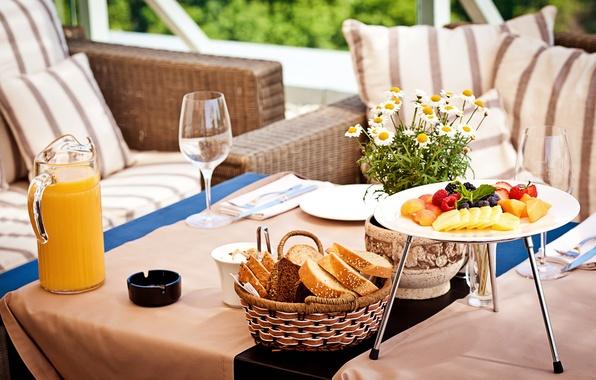 Picture berries, raspberry, table, food, chamomile, Breakfast, blueberries, glasses, strawberry, juice, bread, plates, vase, fruit, mango, …