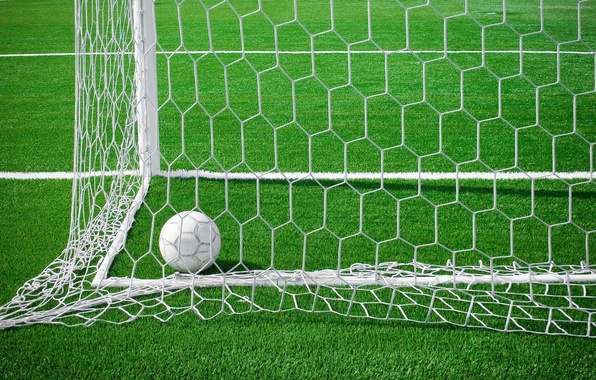 Picture field, grass, mesh, football, the ball, gate, goal, stadium