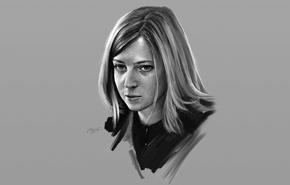 Picture girl, portrait, grey background, Natalia Poklonskaya, Shitub52