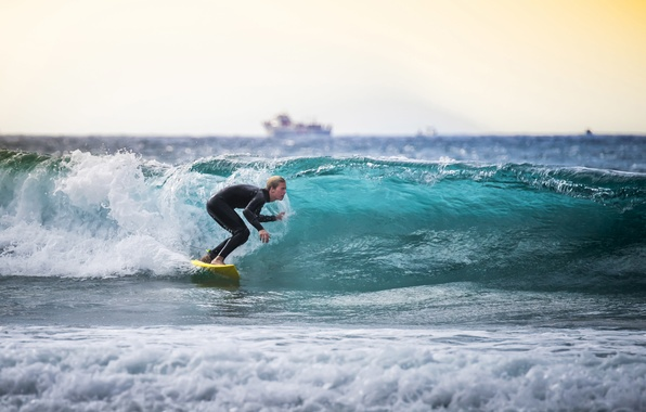 Picture sea, wave, the sun, ship, boats, horizon, surfer, trunk, surfing, surfboards